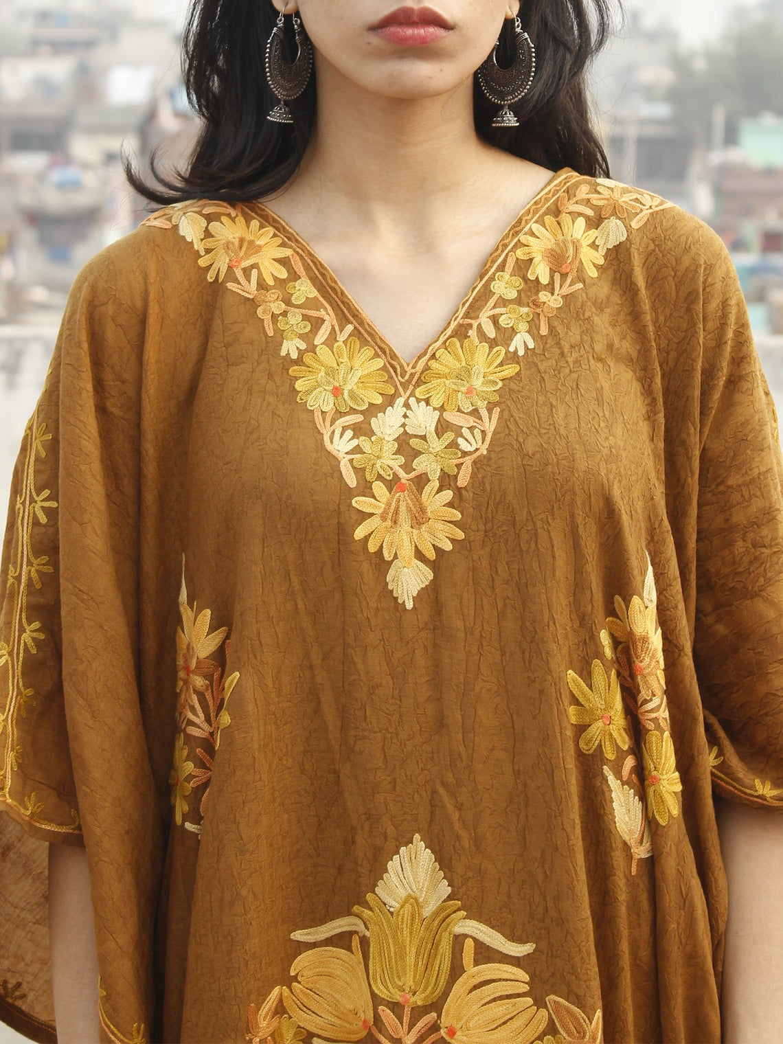 Peanut Brown Aari Embroidered Long Kashmere Free Size Kaftan in Crushed Cotton - K11K001