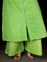 Parrot Green Hand Woven Ikat Embroidered Kurta & Pants (Set of 2) - SS01F1746