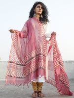 Lavender Maroon Ivory Kota Silk Hand Black Printed Dupatta With Ajrakh Printed Stitched Border - D04170136