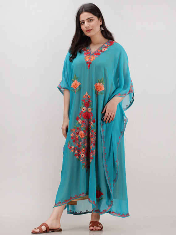 Sky Blue Multicolor Aari Embroidered Kashmere Free Size Georgette Kaftan  - K12K006