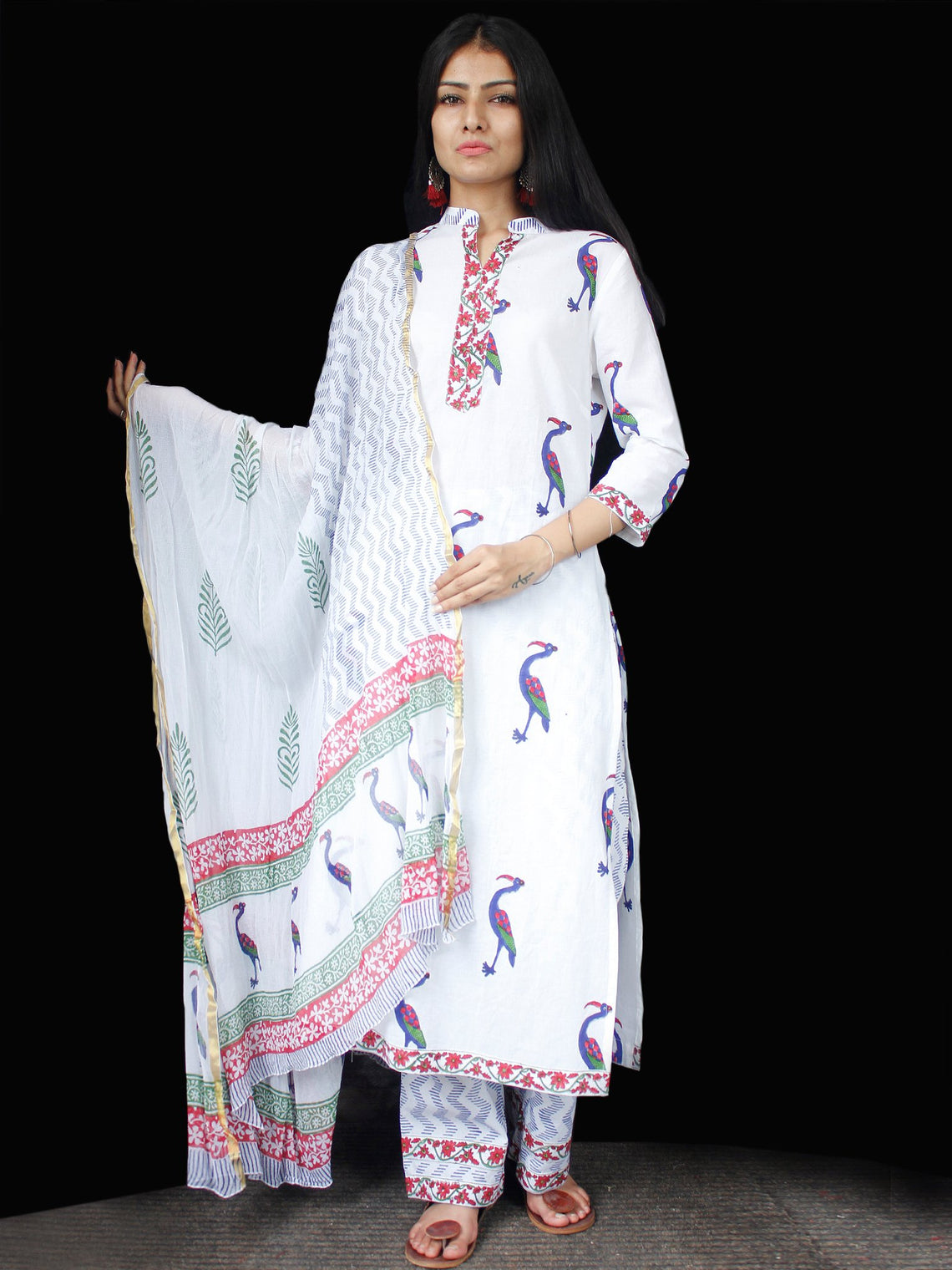 White Blue Coral Cotton Block Printed Suit - Set of 3 - SS01F010