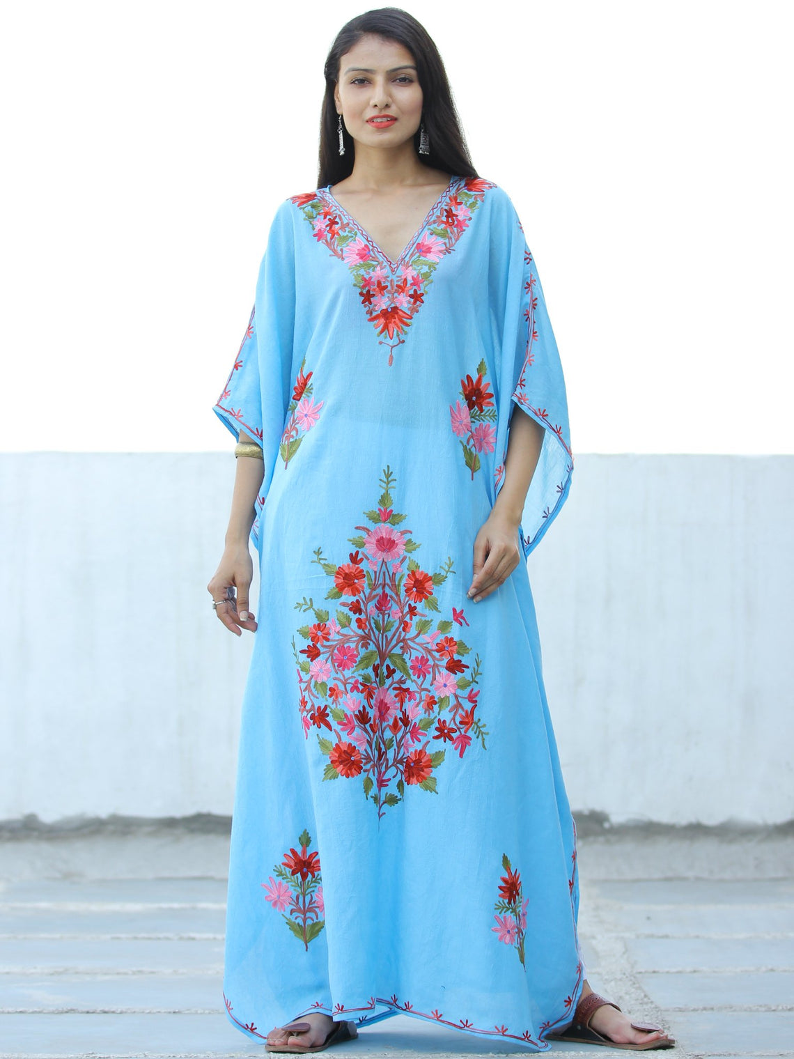 Sky Blue Red  Aari Embroidered Kashmere Free Size Kaftan in Crushed Cotton - K11K060