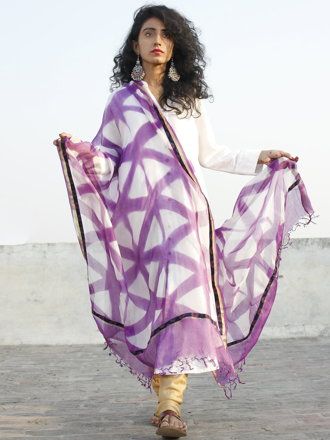Purple White Kota Silk Hand Black Printed Dupatta With Ajrakh Printed Stitched Border - D04170137