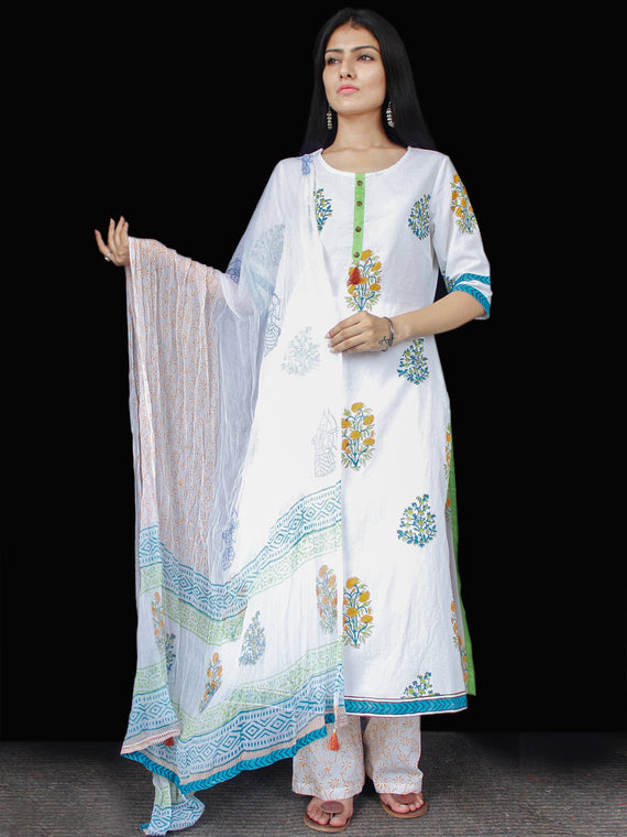 White Blue Green Yellow Cotton Block Printed Suit - Set of 3 - SS01F011