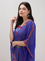 Royal Blue Multicolor Aari Embroidered Kashmere Free Size Georgette Kaftan  - K12K007