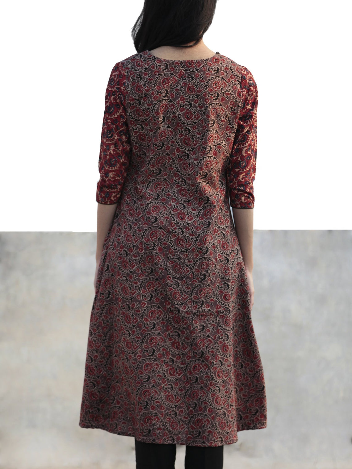 Marron Light Brown  Black Indigo Hand Printed Ajrakh Kurta - K56F1190