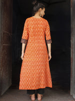 Rust Orange Beige Ikat long Cotton Kurta With Ajrakh Patch Work - K169F910