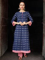 Indigo White Pink Hand Woven Double Ikat Kurta & Pants - Set of 2 - SS01F1225