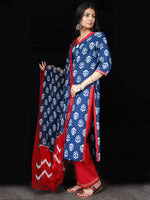Indigo Red White Cotton Block Printed Suit - Set of 3 - SS01F013