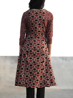 Light Brown Black Red Hand Printed Ajrakh Kurta With Kali - K58F1157
