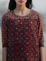 Maroon Brown Blue Ajrakh Hand Block Printed Kurta - K30F1208