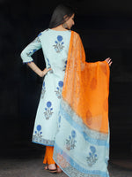 Sky Blue Coral Cotton Block Printed Suit With Kantha Work - Set of 3 - SS01F014