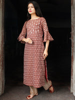 Brown Ivory Hand Woven Ikat Gotta Work Kurta & Pants (Set of 2) - SS01F1408