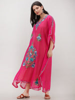 Hot Pink Multicolor Aari Embroidered Kashmere Free Size Georgette Kaftan  - K12K012