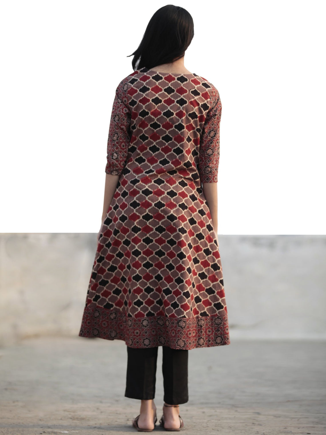 Brown Maroon Black Ajrakh Hand Block Printed Kurta - K32F1178