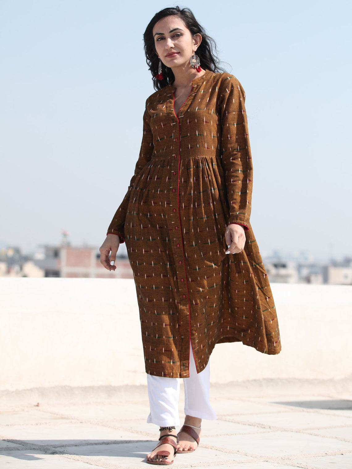 Tagai Irhaa - Set of Front Open Ikat Kurta & Pants  - kS118F665