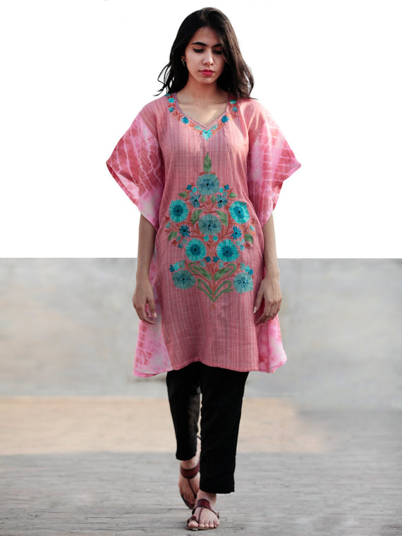 Pink Blue Green Rust Aari Embroidered Short Kashmere Kaftan  - K11K030