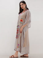 Grey Multicolor Aari Embroidered Kashmere Free Size Georgette Kaftan  - K12K014