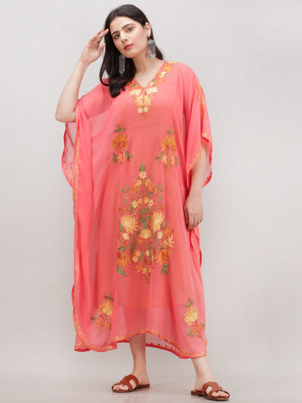 Peach Multicolor Aari Embroidered Kashmere Free Size Georgette Kaftan  - K12K015