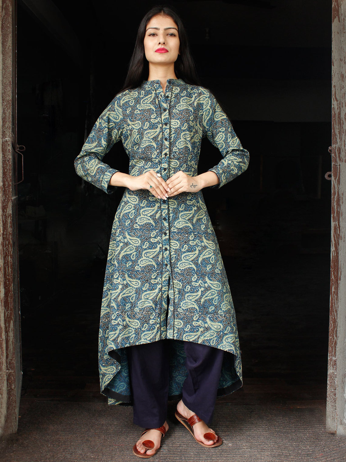 Indigo Green Black Hand Block Printed Ajrakh Asymmetric Kurta With Front Open - K88F1799