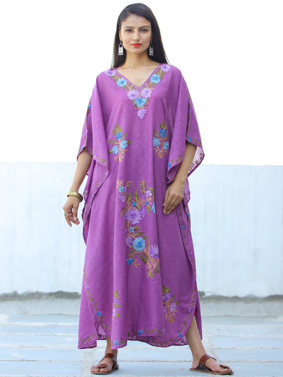 Lilac Sky Blue Aari Embroidered Long Kashmere Free Size Kaftan in Crushed Cotton - K11K052