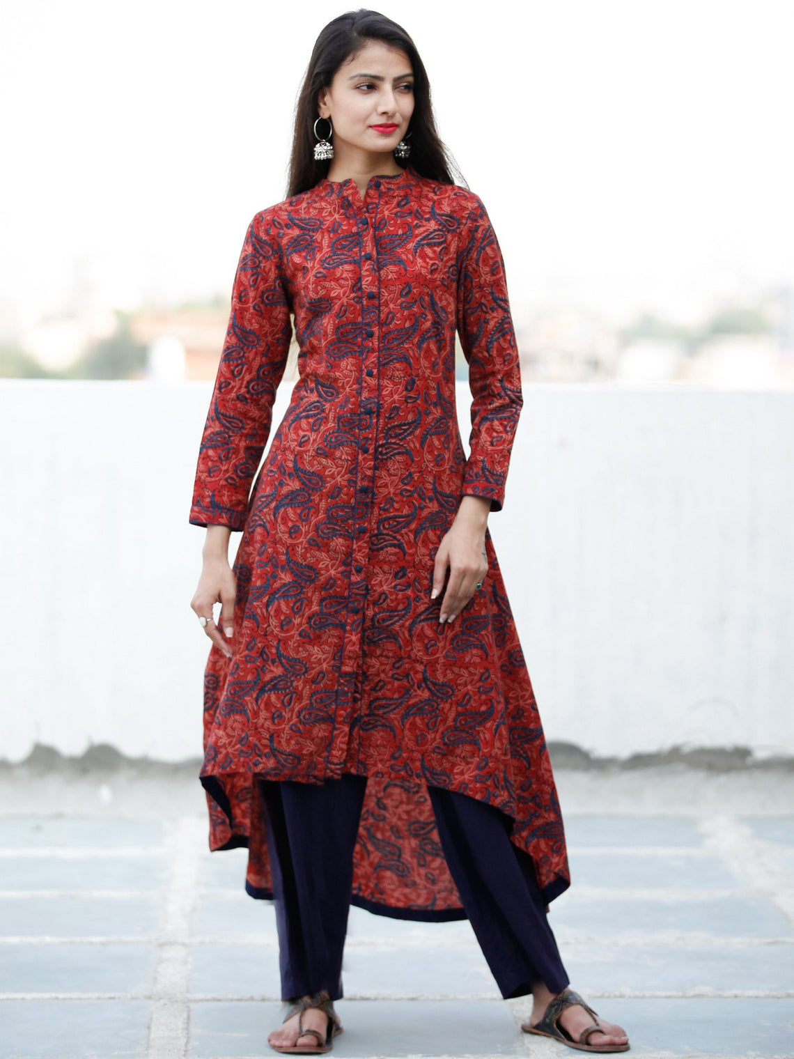 Crimson Red Indigo Hand Block Printed Ajrakh Asymmetric Kurta With Front Open - K88F1800