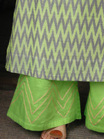 Parrot Green Yellow Grey Hand Woven Ikat Kurta & Pants (Set of 2)  - SS01F1430