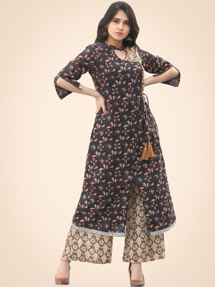 Rozana Night Flowers Kurta Palazzo Set - KS02AS1139