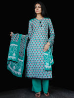Sea Green Grey White Cotton Block Printed Suit - Set of 3 - SS01F020