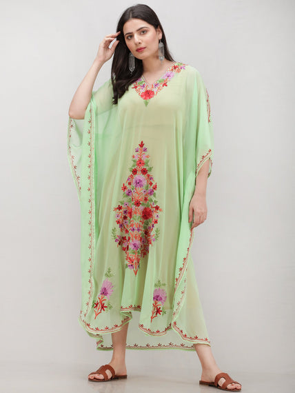 Light Green Multicolor Aari Embroidered Kashmere Free Size Georgette Kaftan  - K12K017