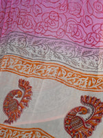 Peach Orange Pink Cotton Block Printed Suit - Set of 3 - SS01F021