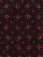 Cherry Red Brown Black Indigo Hand Block Printed Ajrakh Kurta With Stand Collar  - K38F1201