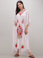 White Multicolor Aari Embroidered Kashmere Free Size Georgette Kaftan  - K12K019