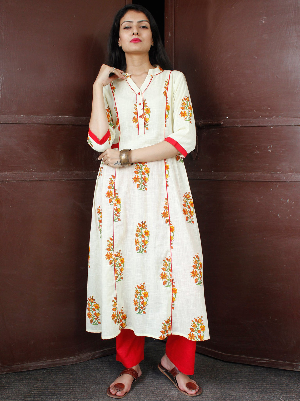Ivory Red Orange Cotton Block Printed Kurta & Pants - Set of 2 - SS01F047