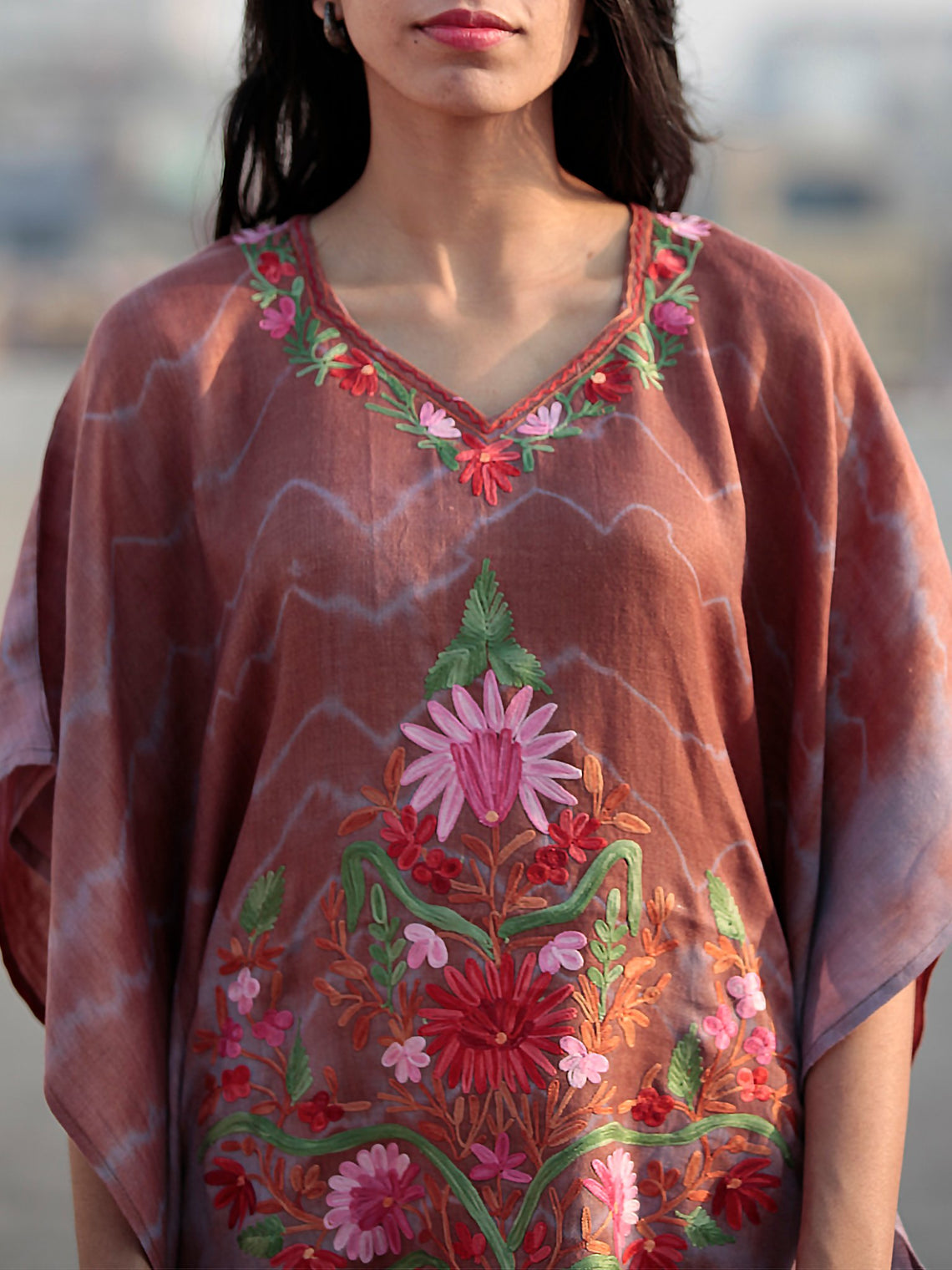 Brown Pink Green Rust Aari Embroidered Short Kashmere Kaftan  - K11K036