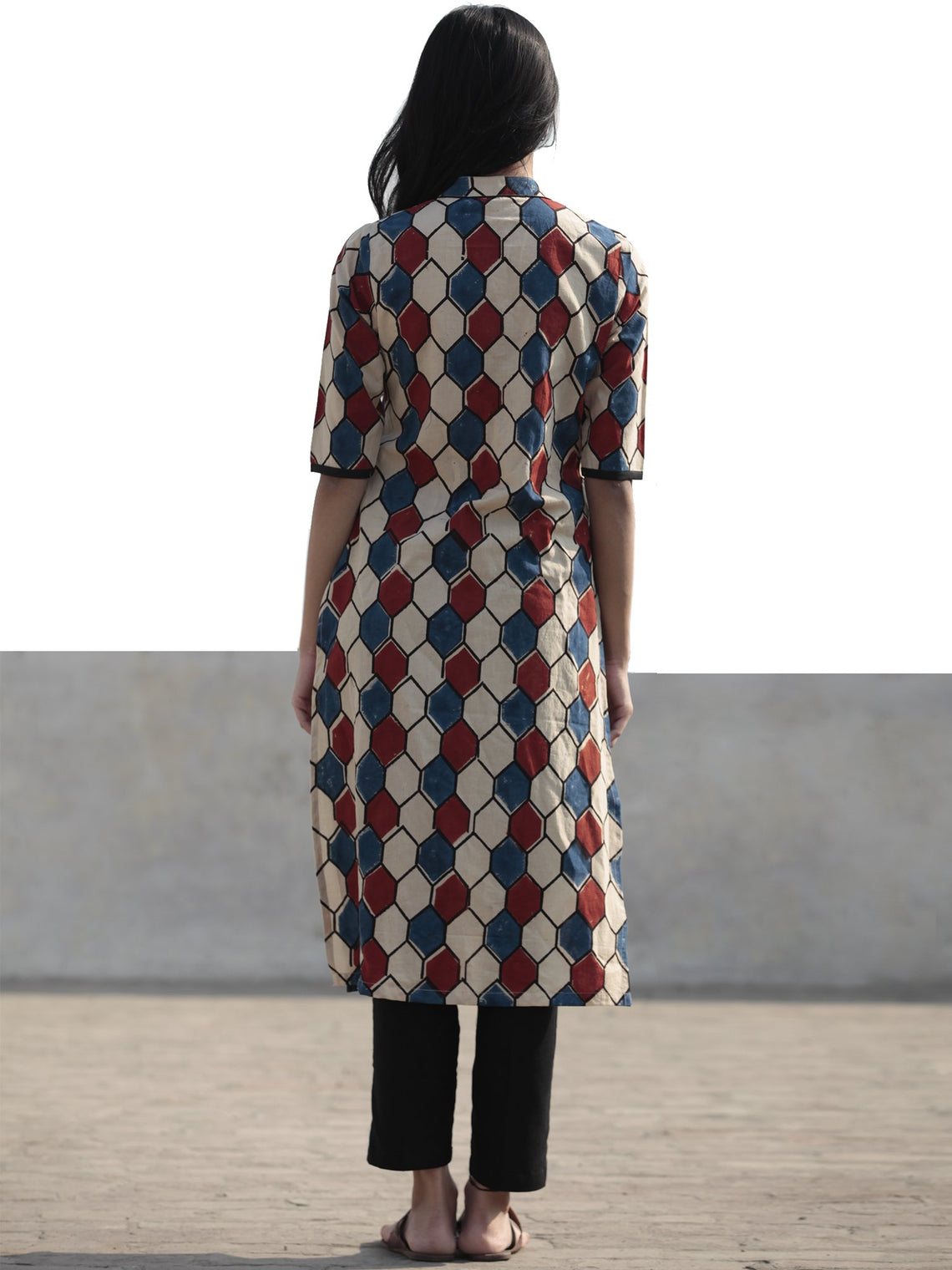 Beige Indigo Red Hand Block Printed Ajrakh Kurta With Stand Collar  - K40F1169