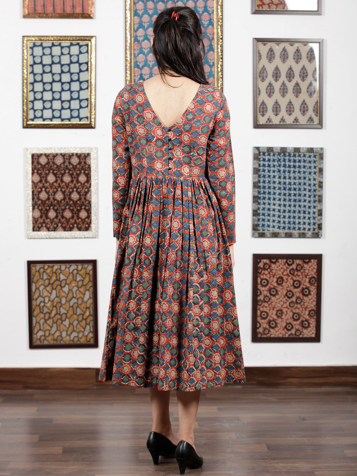 Red Teal Green Indigo Ivory Black Hand Block Printed Cotton  Midi Dress - D105F1316