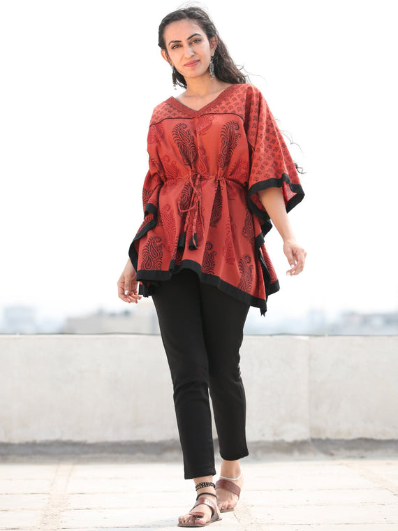 Rust Red Black Bagh Hand Block Printed Short Kaftan - K138F2086
