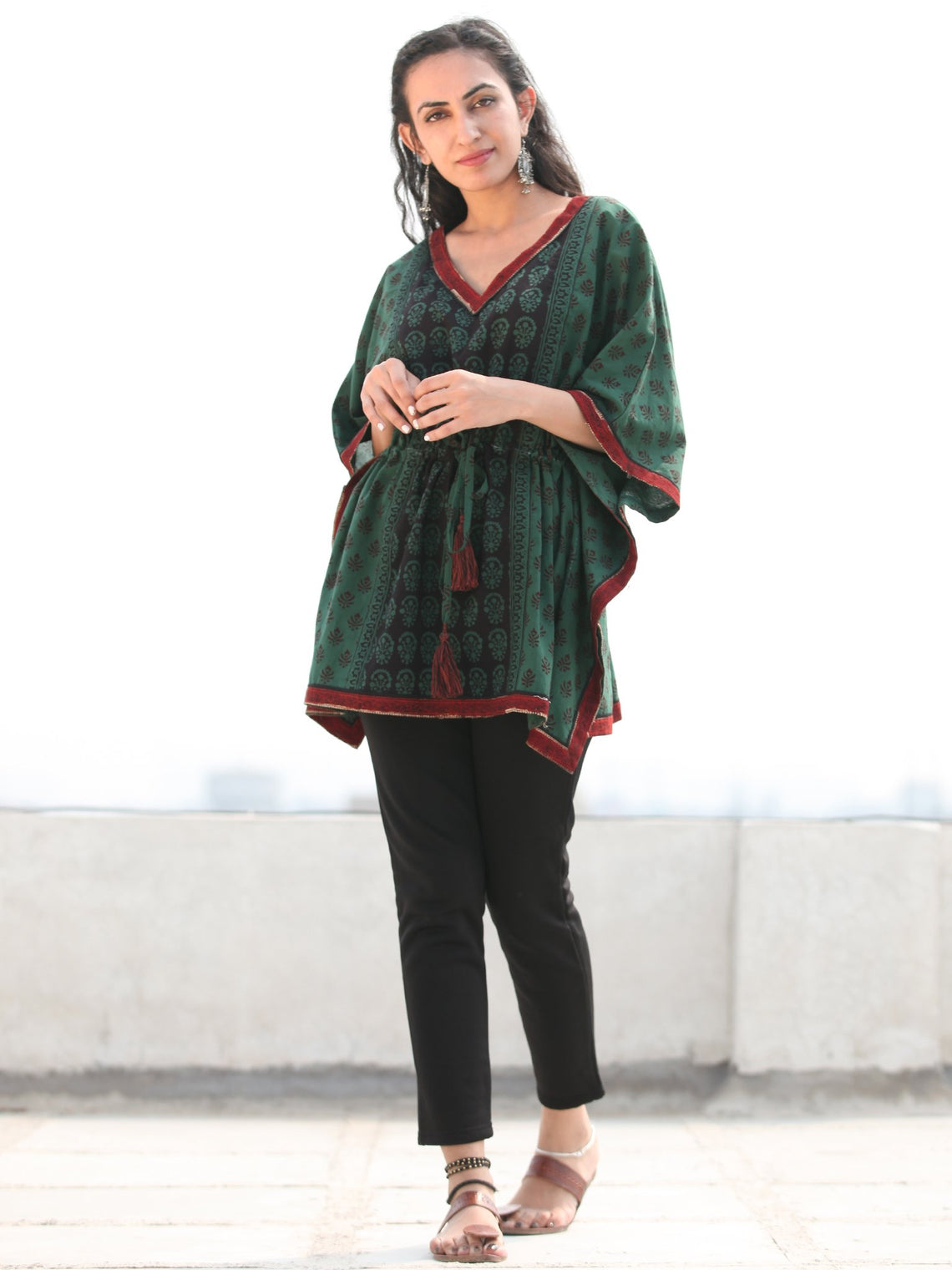 Bottle Green Maroon Bagh Hand Block Printed Short Kaftan - K135F2075