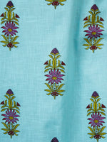 Sky Blue Pink Green Cotton Block Printed Kurta & Pants - Set of 2 - SS01F050