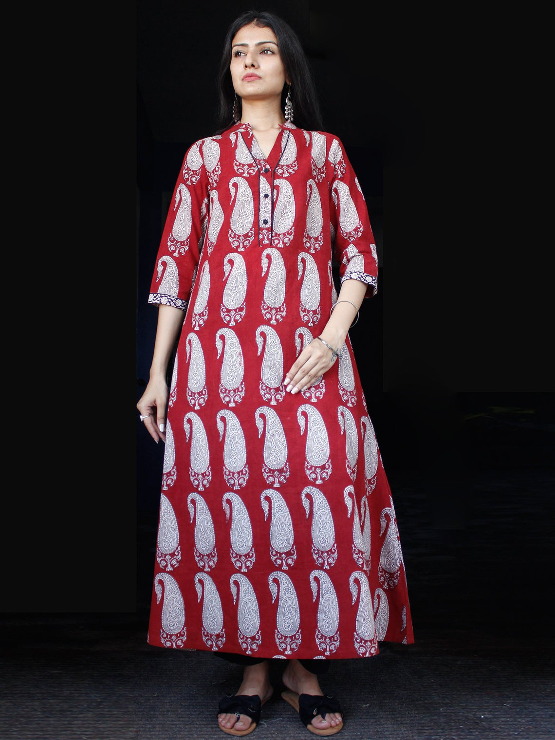 Brick Red Ivory Bagh Printed Kurta in Natural Colors - K127F1694