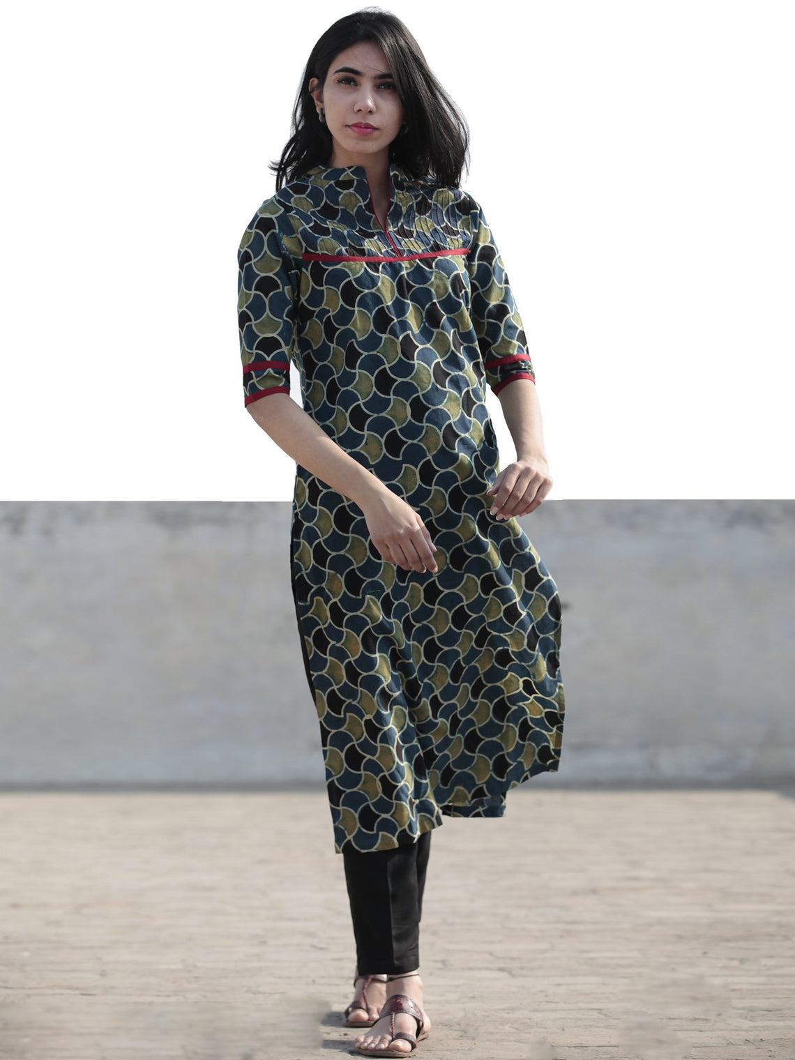Green Indigo Black Hand Block Printed Ajrakh Kurta With  Stand Collar  - K45F1215