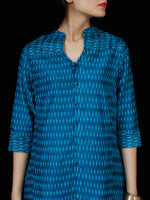 Blue Hand Woven Ikat Zari Embroidered Kurta & Pants (Set of 2)  - SS01F1748