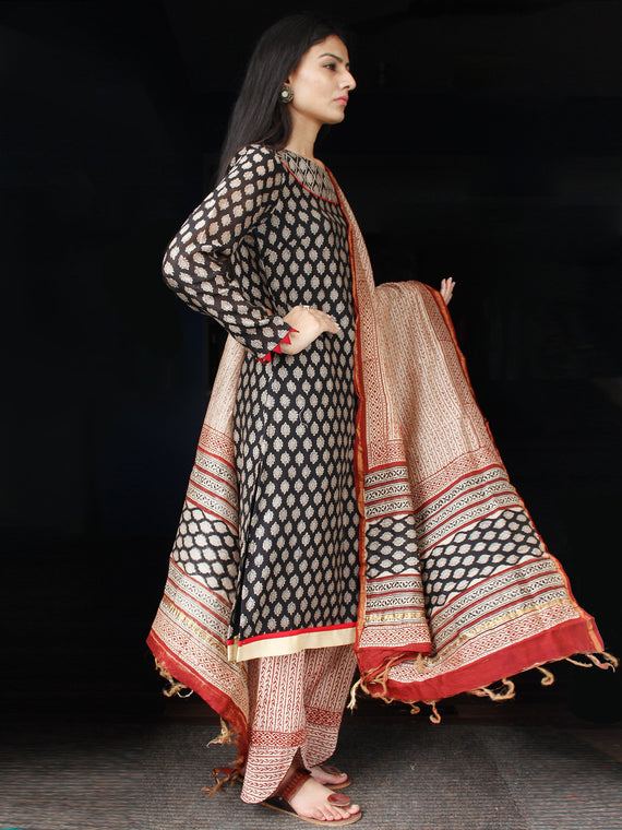 Black Red Beige Chanderi Block Printed Suit Set - Set of 3  - SS01F003