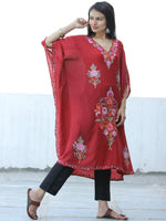 Red Lilac  Aari Embroidered Kashmere Free Size Kaftan in Crushed Cotton - K11K053