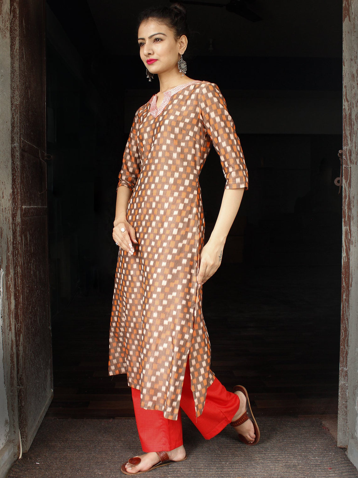 Brown Rust Ivory Red  Ikat Embroidered Kurta & Pants (Set of 2) - SS01F1751