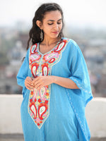 Sky Blue Red Coral Aari Embroidered Kashmere Free Size Kaftan in Crushed Cotton - K11K067