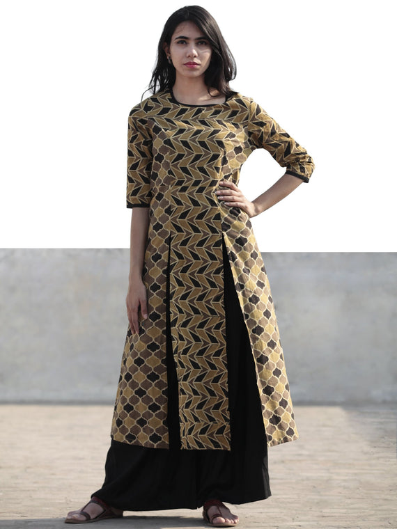 Light Brown Black Beige Hand Printed Ajrakh Kurta With Front Slits - K59F1180