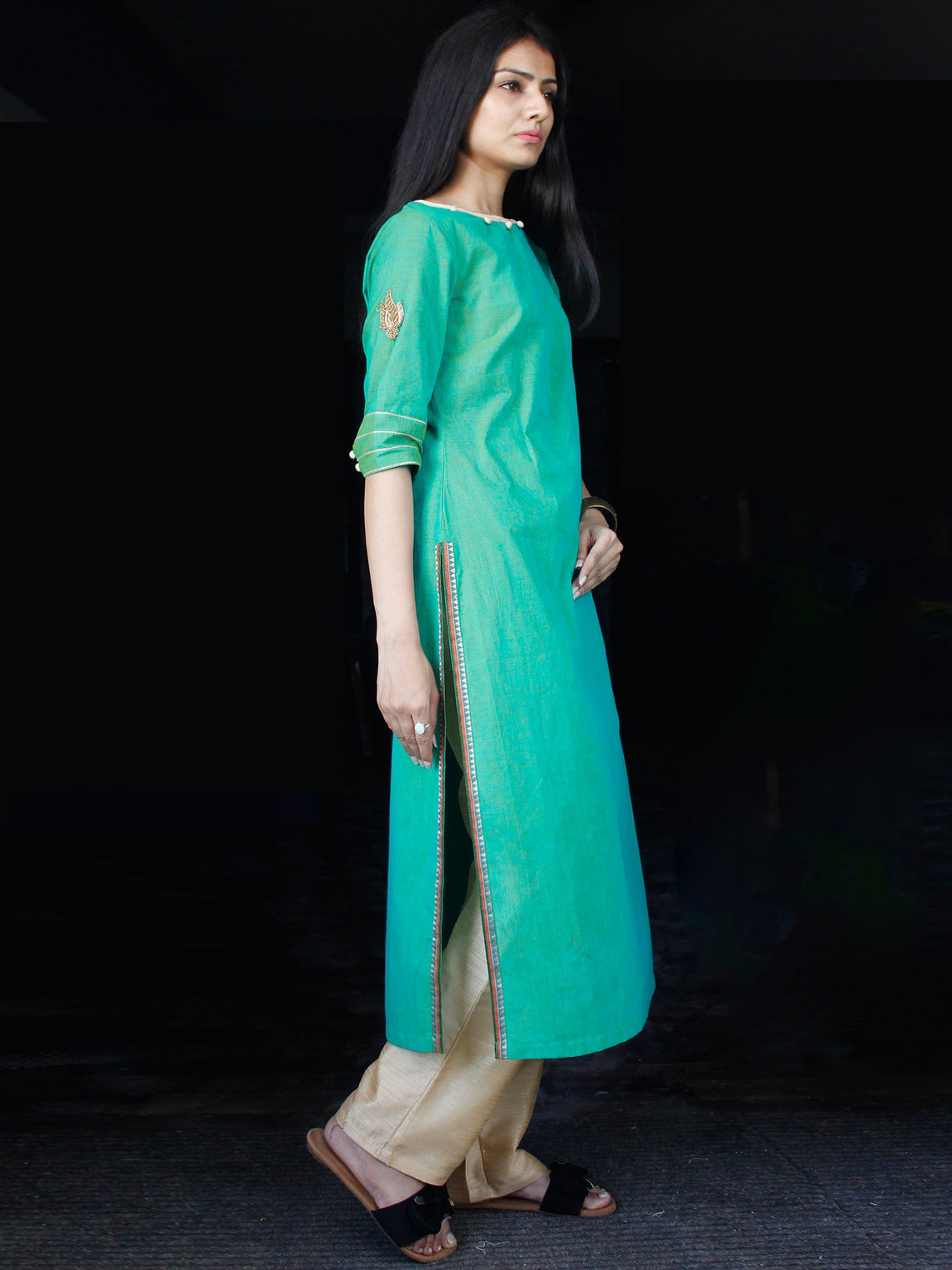 Sea Green South Handloom Cotton Kurta - K156FXXX