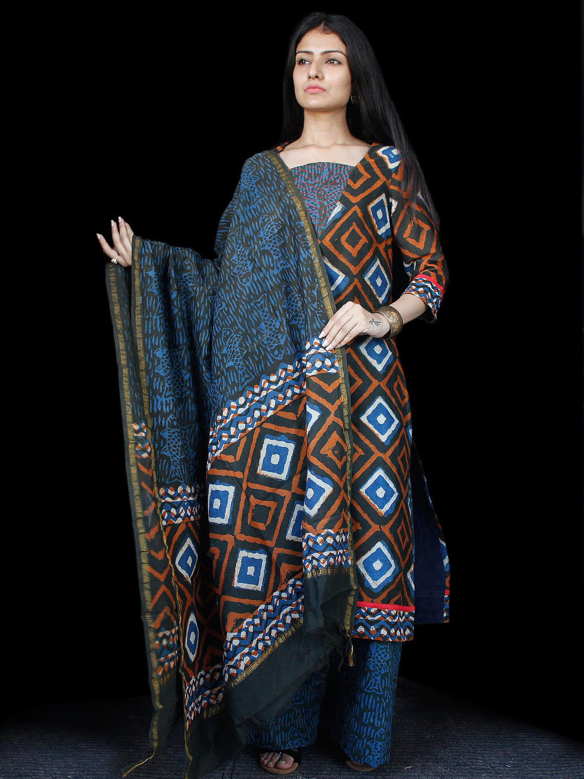 Indigo Rust Ivory Chanderi Block Printed Suit Set - Set of 3 - SS01F027